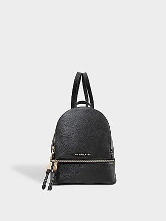 58822d91207 Michael Michael Kors Rhea Zip Medium Backpack in Black Grained Calfskin