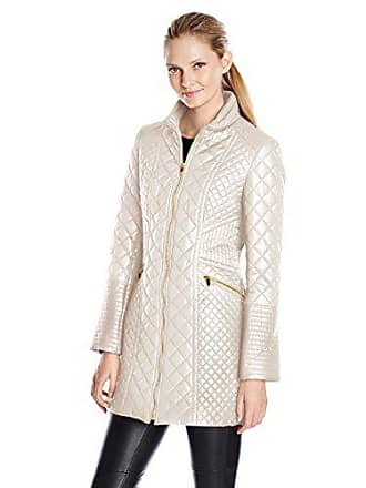 86f0f95eeca Via Spiga Womens Diamond Quilted Mid-Length Lightweight Jacket, Oyster,  X-Small