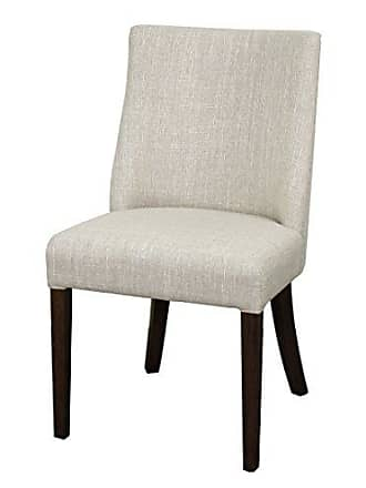 New Pacific Direct New Paris Dining Chair, Dark Brown Legs, Rice White, Set of 2