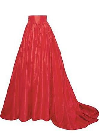 db5f0aa964 Carolina Herrera Carolina Herrera Woman Flared Pleated Silk-taffeta Maxi  Skirt Red Size 8