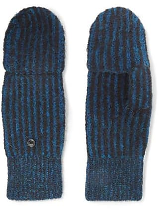 Rag & Bone Jonie Striped Ribbed-knit Mittens - Blue