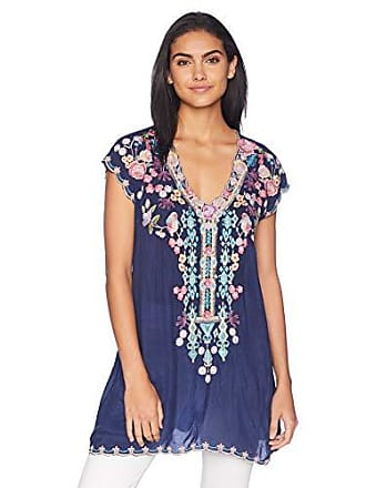Johnny Was Womens Cap Sleeve Multicolor Embroidered Rayon Tunic, Blue Night XXL