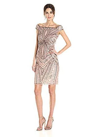 c15b0d44109 Adrianna Papell Womens Off The Shoulder Swirl Beaded Cocktail Dress, Rose  Gold, 16