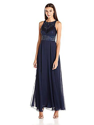 JS Collections Womens Chiffon Gown with Embellished Top and Waistband, Navy, 8