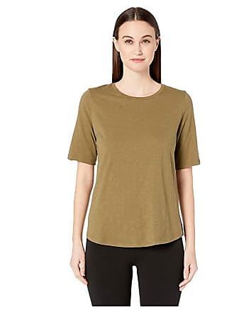 Eileen Fisher Organic Cotton Slub Round Neck Elbow Sleeve Top (Olive) Womens Short Sleeve Pullover