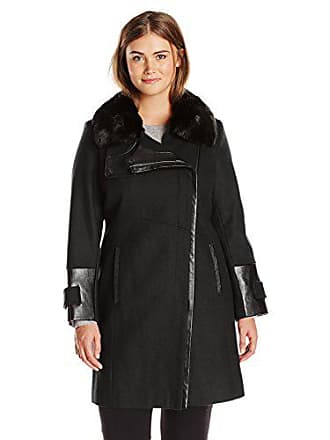 Via Spiga Womens Plus-Size Asymmetrical Zip Front Wool Coat with Faux Fur Collar, Camel, 16W