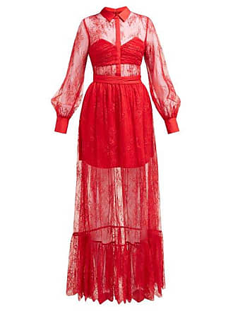 c31cd73ae9b6 Self Portrait Floral Chantilly Lace Dress - Womens - Red