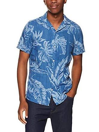 19a77332 Tommy Hilfiger Mens Leaf Print Linen Shirt, Indigo, XX-Large