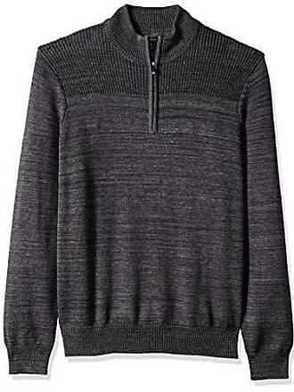 Van Heusen Mens Long Sleeve Texture Block 1/4 Zip Sweater 7GG, Black Heather, X-Large