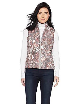 Ruby Rd. Womens Petite Size Sleeveless Reversible Printed poplin Vest, Multi/Graphite, PL