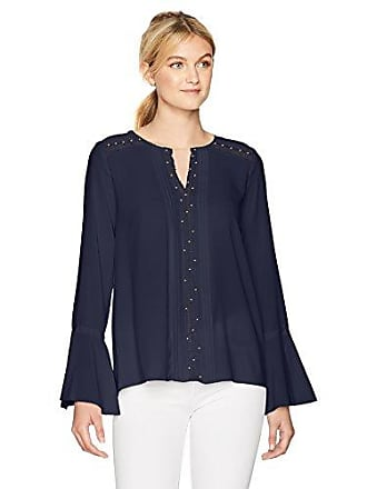 T Tahari Womens Norma Blouse, True Navy, L