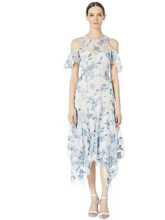 Marchesa Cold Shoulder Corded Lace Embroidered Tulle Tea Length Dress (Ivory) Womens Dress