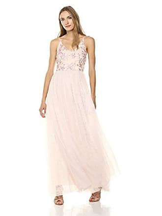 Adrianna Papell Womens Sequin Embroidered Tulle Spaghetti Strap V-Neck Long Dress, Pink, 16