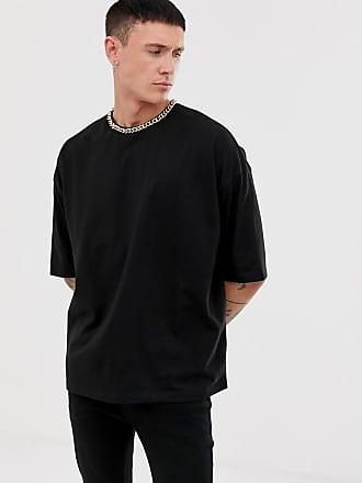 59b726c0569452 Asos Oversize-T-Shirt aus schwerem Jersey mit Kettendetail am Ausschnitt -  Schwarz