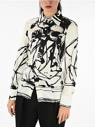 Celine abstract print silk long sleeve 2 button cuff blouse Größe 42