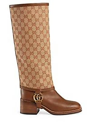 72ff034c6a4 Gucci Womens Gaiter-Overlay Leather Knee Boots - Beige