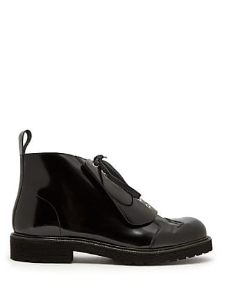 Loewe Lace Up Leather Boots - Mens - Black