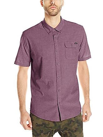 O'Neill Mens Casual Standard Fit Short Sleeve Woven Button Down Shirt, Burgundy/Emporium, X-Large
