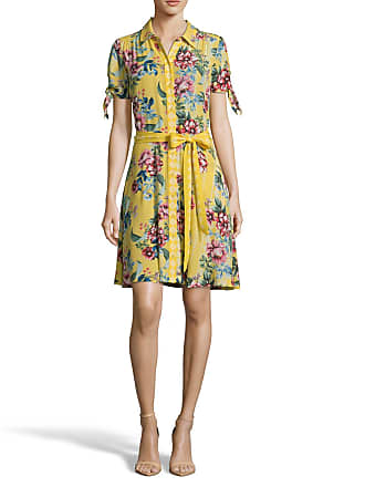 5twelve Floral Tie-Waist A-Line Button-Down Dress