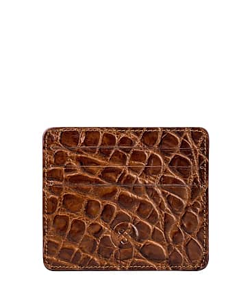Maxwell Scott Maxwell Scott - Luxury Mens Crocodile Pattern Card Holder in Brown