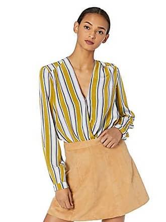 ASTR the Label Womens Long Sleeve WRAP Front Blouse Bodysuit, Moss Multi Stripe, s