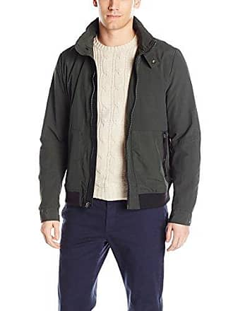Kenneth Cole Mens Crinkle Nylon Lightweight Bomber, Forest Large