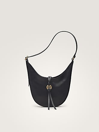 MASSIMO DUTTI BLACK NAPPA SHOULDER BAG WITH METAL APPLIQUÉ