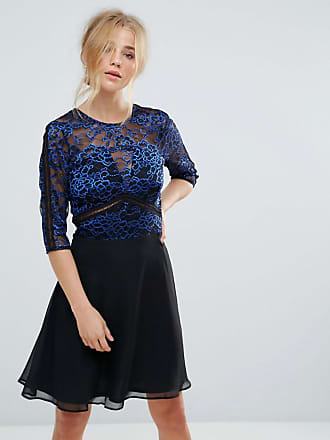 264b7fbf8e Elise Ryan Lace Skater Dress With Ladder Trim