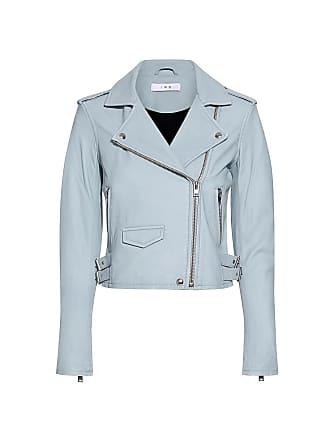 Iro Ashville Leather Biker Jacket Bleached Blue