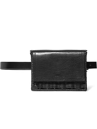 Wicker Wings Tao Rattan And Leather Belt Bag - Black