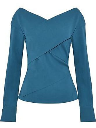 Theory Theory Woman Wrap-effect Stretch-silk Crepe Top Cobalt Blue Size XS