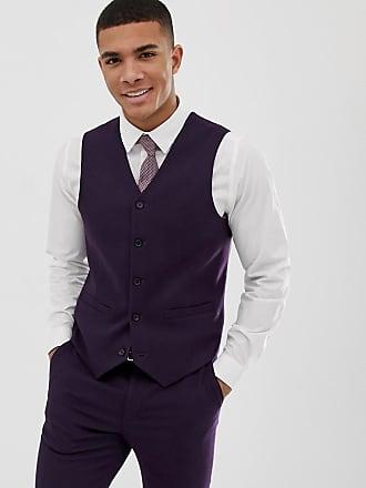 Asos CHaleco de traje ajustado en violeta con microtextura de ASOS DESIGN  Wedding c07894ccf49