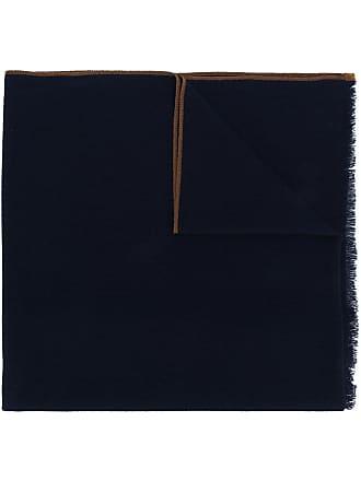 Eleventy Cachecol de cashmere com listras na barra - Azul