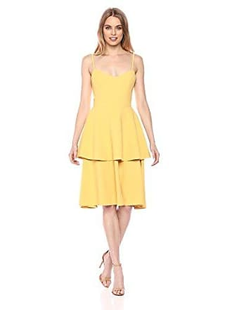 Dress The Population Womens Yasmin Solid Sleeveless Peplum Tiered FIT & Flare MIDI Dress, Sunflower, XS