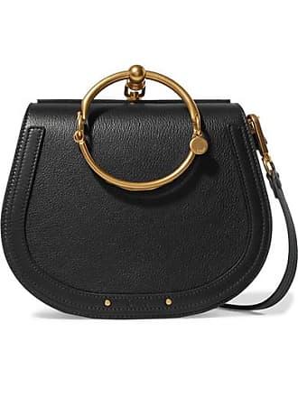 Chloé Nile Bracelet Medium Leather And Suede Shoulder Bag - Black