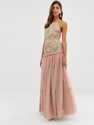 e754946c253 Asos meadow floral embroidered   sequin maxi dress with open back - Pink