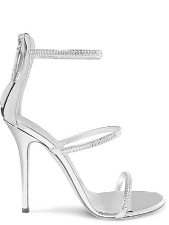 1a86fdde2fb Giuseppe Zanotti Harmony Crystal-embellished Mirrored-leather Sandals -  Silver