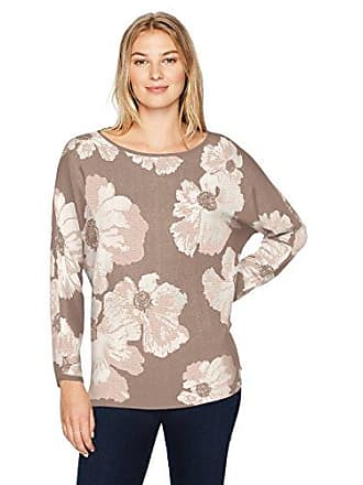 Ruby Rd. Womens Scoop-Neck Large Bloom Jacquard Sweater Pullover, Taupe Multi