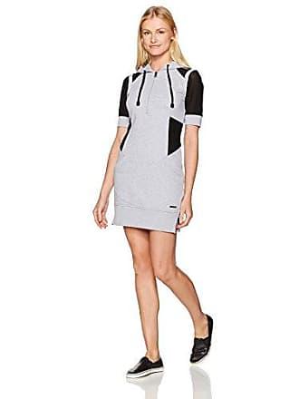 Blanc Noir Womens Short Sleeve Hoodie Dress, Heather Grey, XS