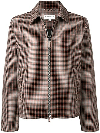 Ymc You Must Create checked zip-up jacket - Brown