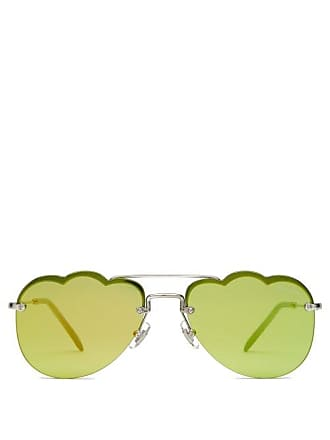 151baf60eb9a Miu Miu Cloud Shaped Rimless Aviator Metal Sunglasses - Womens - Yellow
