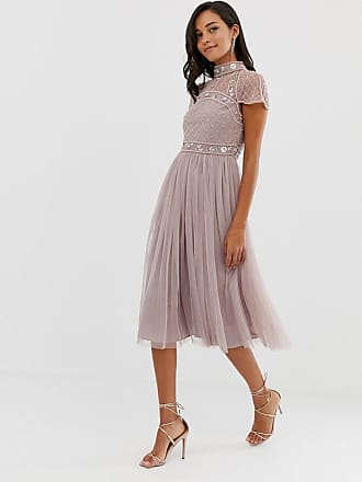 Asos midi dress with embellished crop top and tulle skirt - Multi