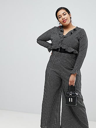 Glamorous Curve tie front wide leg jumpsuit with ruffle detail-Black