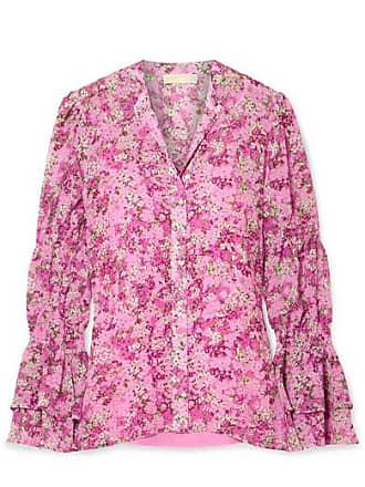 Michael Kors Smocked Floral-print Chiffon Blouse - Pink