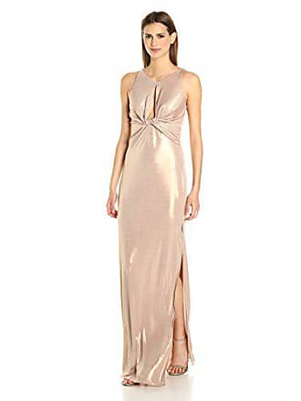 2ef02ddc953 Halston Heritage Womens Sleeveless Round Neck Metallic Jersey Gown Front  Keyhole, Champagne, 0