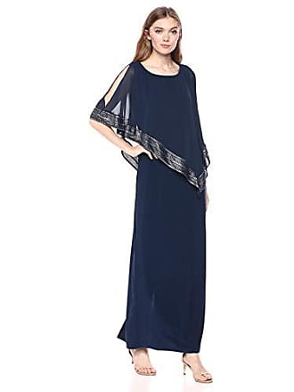 S.L. Fashions Womens Petite Cape Dress, Deep Navy Long, 8P