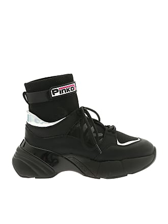 921667302a9cc1 Pinko Black sneakers with iridescent silver details
