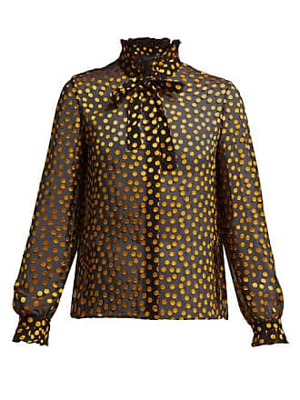 Saloni Emile Fil Coupé Silk Blend Georgette Blouse - Womens - Black Yellow