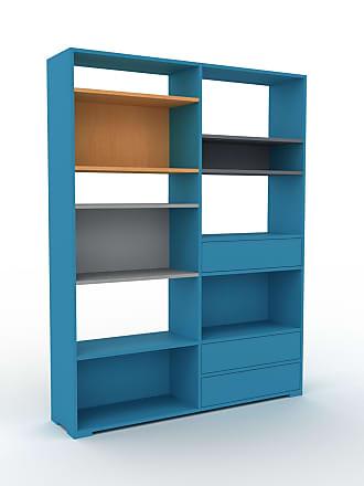 MYCS Bibliothèque - Bleu, modèle tendance, rangements pour livres, avec tiroir Bleu - 152 x 196 x 35 cm, modulable