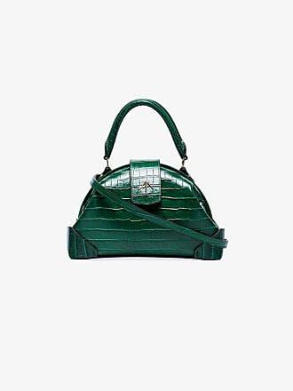 Manu Atelier green Demi crocodile embossed leather cross body bag